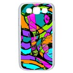Abstract Sketch Art Squiggly Loops Multicolored Samsung Galaxy S III Case (White) Front