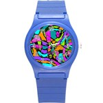 Abstract Sketch Art Squiggly Loops Multicolored Round Plastic Sport Watch (S) Front