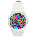 Abstract Sketch Art Squiggly Loops Multicolored Round Plastic Sport Watch (M) Front