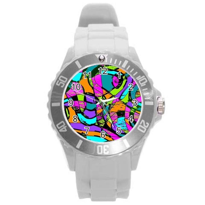 Abstract Sketch Art Squiggly Loops Multicolored Round Plastic Sport Watch (L)