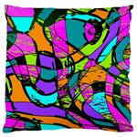 Abstract Sketch Art Squiggly Loops Multicolored Large Cushion Case (Two Sides) Back