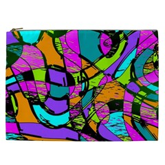 Abstract Sketch Art Squiggly Loops Multicolored Cosmetic Bag (XXL)