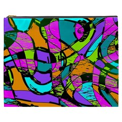Abstract Sketch Art Squiggly Loops Multicolored Cosmetic Bag (xxxl)