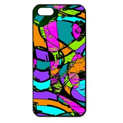 Abstract Sketch Art Squiggly Loops Multicolored Apple iPhone 5 Seamless Case (Black)