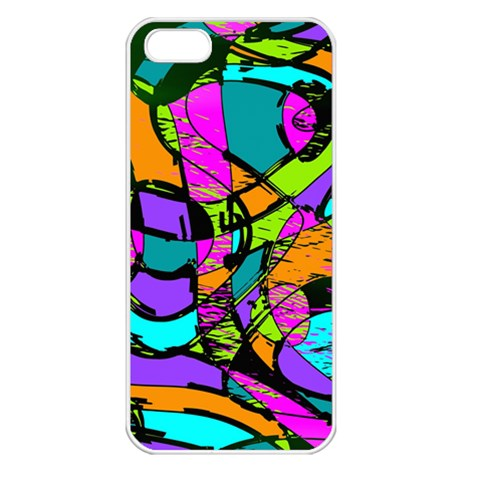 Abstract Sketch Art Squiggly Loops Multicolored Apple iPhone 5 Seamless Case (White)