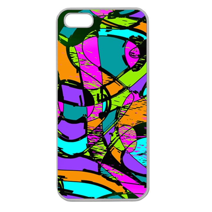Abstract Sketch Art Squiggly Loops Multicolored Apple Seamless iPhone 5 Case (Clear)