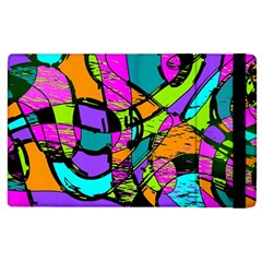 Abstract Sketch Art Squiggly Loops Multicolored Apple iPad 2 Flip Case