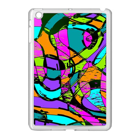 Abstract Sketch Art Squiggly Loops Multicolored Apple iPad Mini Case (White)
