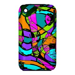 Abstract Sketch Art Squiggly Loops Multicolored Apple iPhone 3G/3GS Hardshell Case (PC+Silicone)