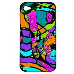 Abstract Sketch Art Squiggly Loops Multicolored Apple Iphone 4/4s Hardshell Case (pc+silicone)