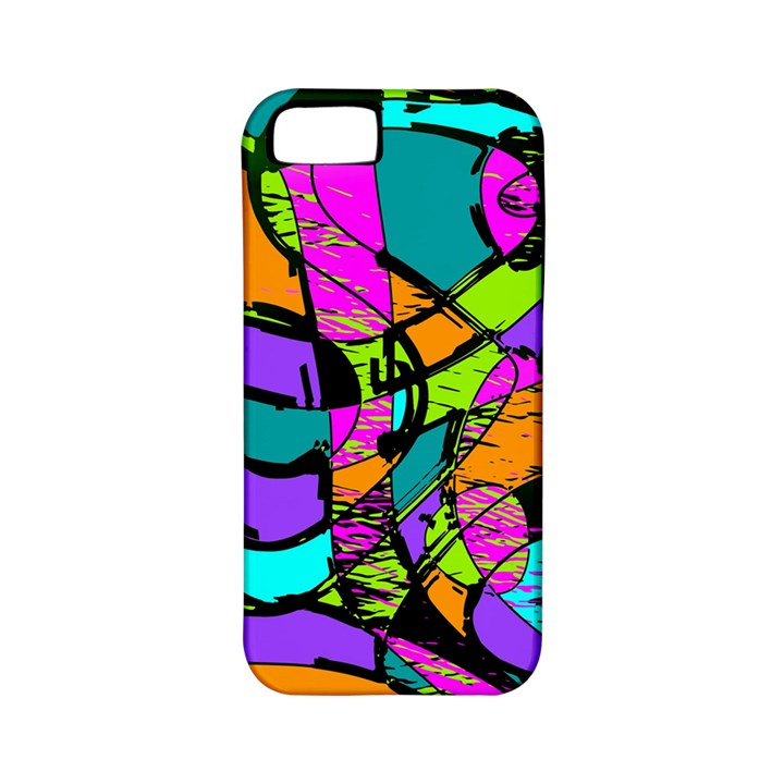 Abstract Sketch Art Squiggly Loops Multicolored Apple iPhone 5 Classic Hardshell Case (PC+Silicone)