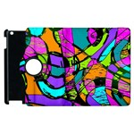 Abstract Sketch Art Squiggly Loops Multicolored Apple iPad 2 Flip 360 Case Front