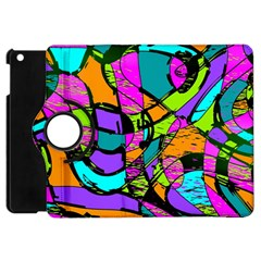 Abstract Sketch Art Squiggly Loops Multicolored Apple iPad Mini Flip 360 Case