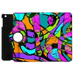 Abstract Sketch Art Squiggly Loops Multicolored Apple iPad Mini Flip 360 Case Front