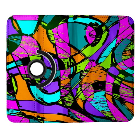 Abstract Sketch Art Squiggly Loops Multicolored Samsung Galaxy Note II Flip 360 Case