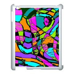 Abstract Sketch Art Squiggly Loops Multicolored Apple iPad 3/4 Case (White)