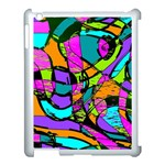 Abstract Sketch Art Squiggly Loops Multicolored Apple iPad 3/4 Case (White) Front