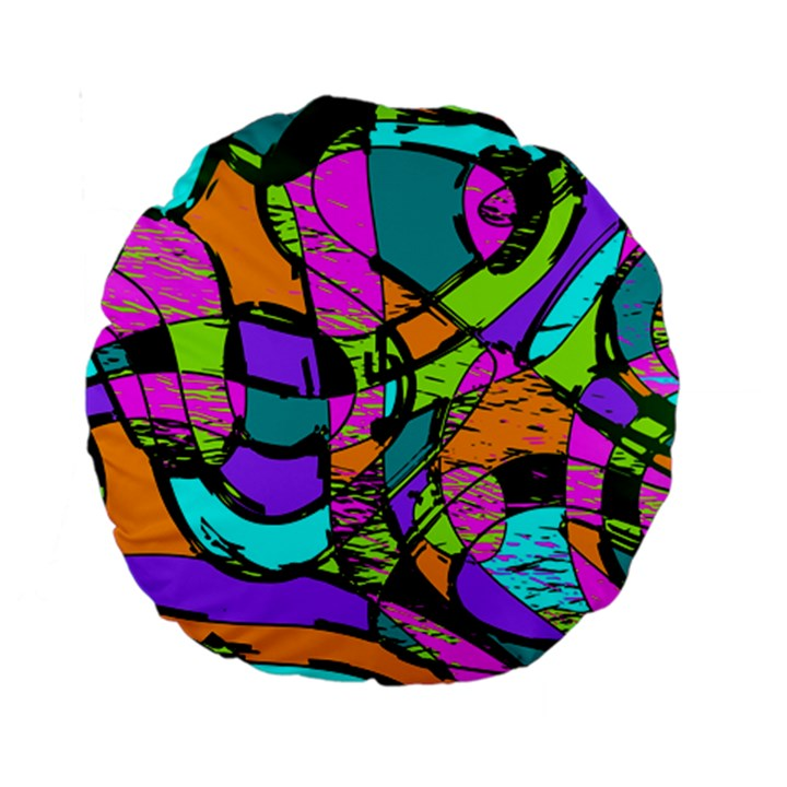 Abstract Sketch Art Squiggly Loops Multicolored Standard 15  Premium Round Cushions