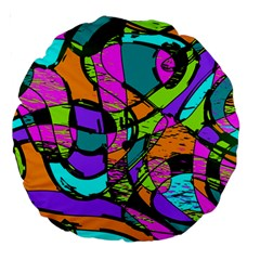 Abstract Sketch Art Squiggly Loops Multicolored Large 18  Premium Round Cushions