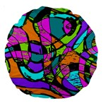 Abstract Sketch Art Squiggly Loops Multicolored Large 18  Premium Round Cushions Back
