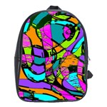 Abstract Sketch Art Squiggly Loops Multicolored School Bags (XL)  Front