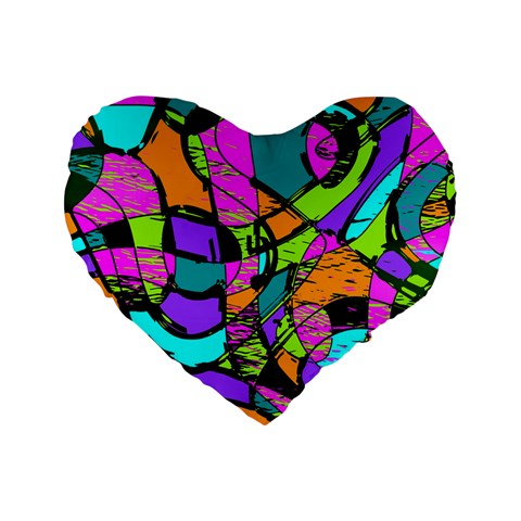 Abstract Sketch Art Squiggly Loops Multicolored Standard 16  Premium Heart Shape Cushions