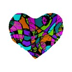 Abstract Sketch Art Squiggly Loops Multicolored Standard 16  Premium Heart Shape Cushions Back