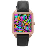 Abstract Sketch Art Squiggly Loops Multicolored Rose Gold Leather Watch  Front