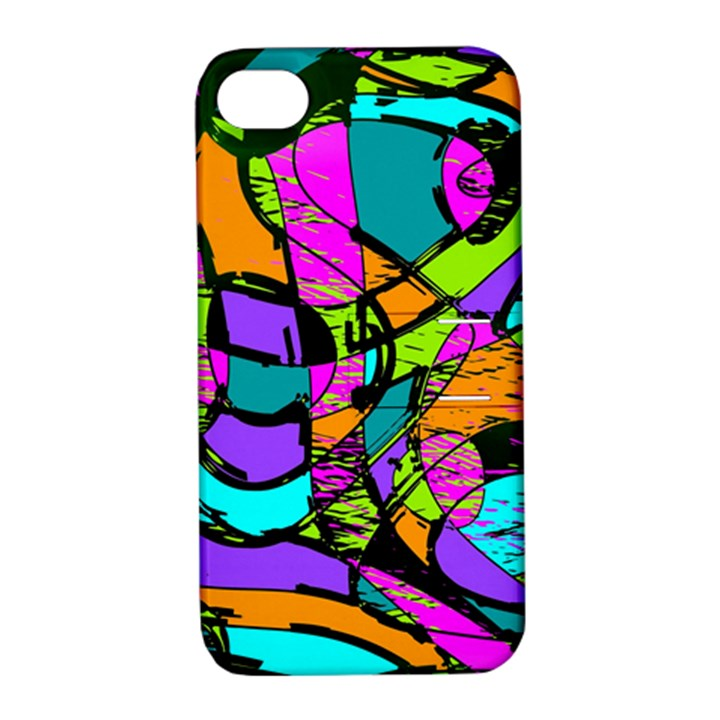 Abstract Sketch Art Squiggly Loops Multicolored Apple iPhone 4/4S Hardshell Case with Stand