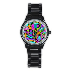 Abstract Sketch Art Squiggly Loops Multicolored Stainless Steel Round Watch