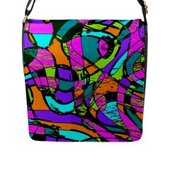 Abstract Sketch Art Squiggly Loops Multicolored Flap Messenger Bag (l)