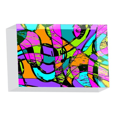 Abstract Sketch Art Squiggly Loops Multicolored 4 x 6  Acrylic Photo Blocks