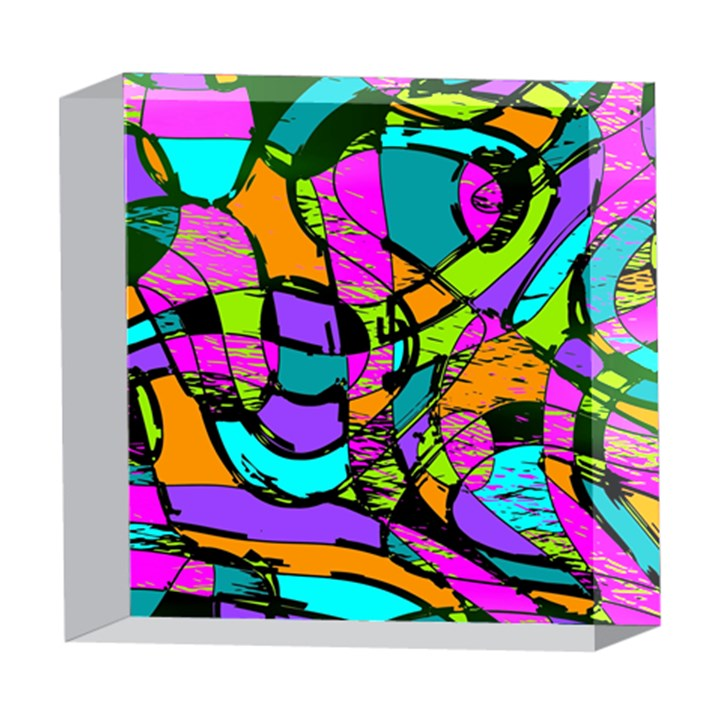 Abstract Sketch Art Squiggly Loops Multicolored 5  x 5  Acrylic Photo Blocks