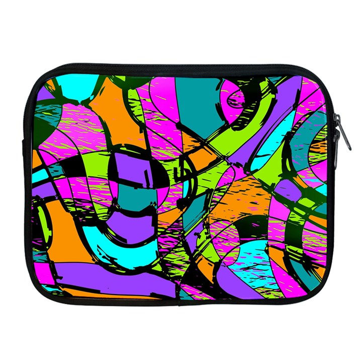 Abstract Sketch Art Squiggly Loops Multicolored Apple iPad 2/3/4 Zipper Cases