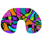 Abstract Sketch Art Squiggly Loops Multicolored Travel Neck Pillows Back