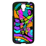 Abstract Sketch Art Squiggly Loops Multicolored Samsung Galaxy S4 I9500/ I9505 Case (Black) Front