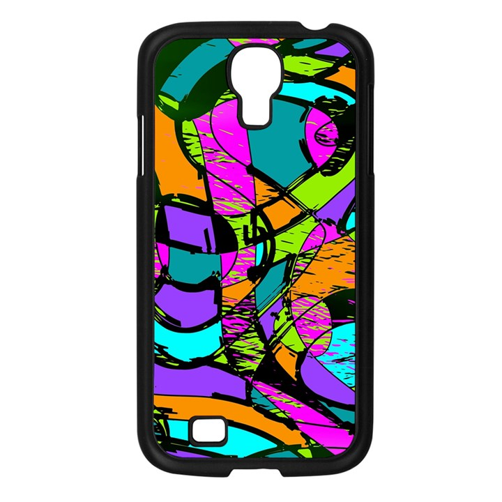 Abstract Sketch Art Squiggly Loops Multicolored Samsung Galaxy S4 I9500/ I9505 Case (Black)