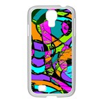 Abstract Sketch Art Squiggly Loops Multicolored Samsung GALAXY S4 I9500/ I9505 Case (White) Front