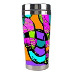Abstract Sketch Art Squiggly Loops Multicolored Stainless Steel Travel Tumblers Left