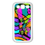 Abstract Sketch Art Squiggly Loops Multicolored Samsung Galaxy S3 Back Case (White) Front