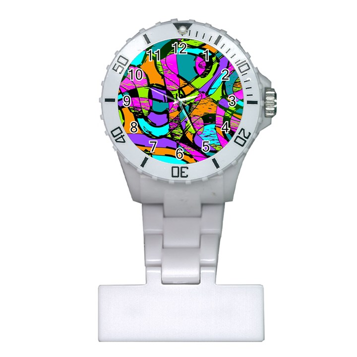 Abstract Sketch Art Squiggly Loops Multicolored Plastic Nurses Watch