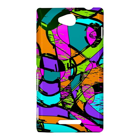 Abstract Sketch Art Squiggly Loops Multicolored Sony Xperia C (S39H)