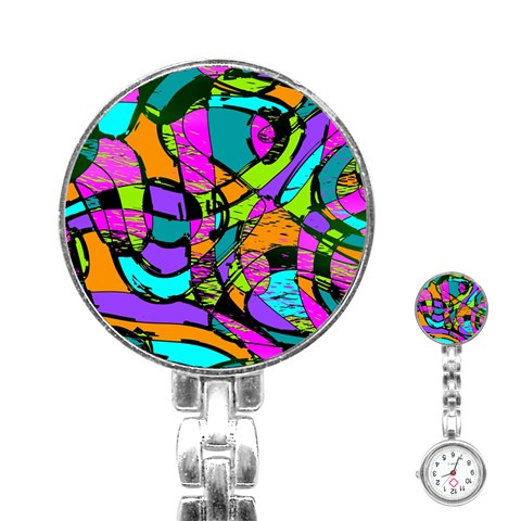 Abstract Sketch Art Squiggly Loops Multicolored Stainless Steel Nurses Watch