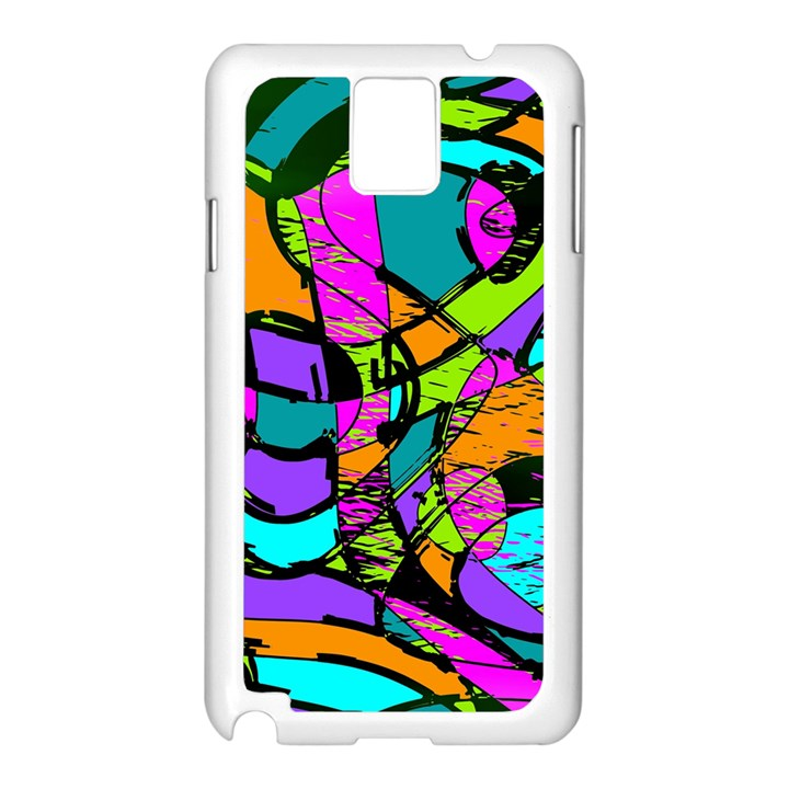Abstract Sketch Art Squiggly Loops Multicolored Samsung Galaxy Note 3 N9005 Case (White)