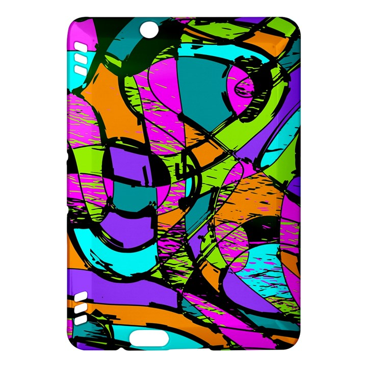 Abstract Sketch Art Squiggly Loops Multicolored Kindle Fire HDX Hardshell Case