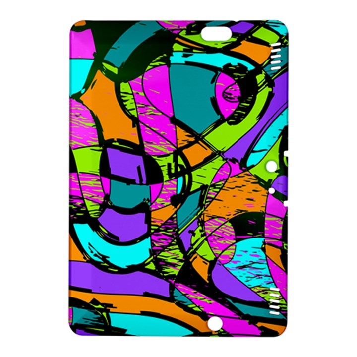 Abstract Sketch Art Squiggly Loops Multicolored Kindle Fire HDX 8.9  Hardshell Case