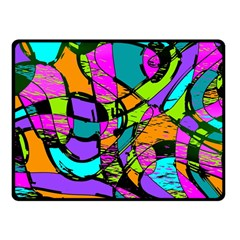 Abstract Sketch Art Squiggly Loops Multicolored Double Sided Fleece Blanket (Small)