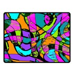 Abstract Sketch Art Squiggly Loops Multicolored Double Sided Fleece Blanket (Small)  50 x40 Blanket Back