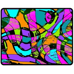 Abstract Sketch Art Squiggly Loops Multicolored Double Sided Fleece Blanket (Medium)