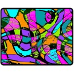 Abstract Sketch Art Squiggly Loops Multicolored Double Sided Fleece Blanket (Medium)  60 x50 Blanket Back